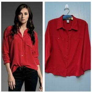 Tops - NEXX Red Silk Button Up Blouse